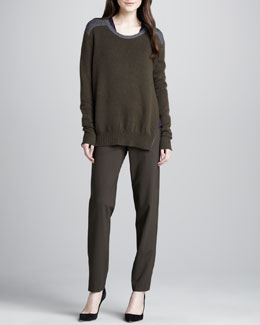 Vince Side-Zip Colorblock Sweater, Slub V-Neck Tee & Relaxed Stretch-Wool Trousers