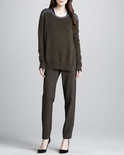 Side-Zip Colorblock Sweater, Slub V-Neck Tee & Relaxed Stretch-Wool Trousers