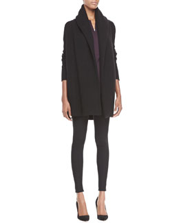 Vince Rib-Trim Open Cardigan, Zip-Placket Silk Blouse & Scrunch-Ankle Ponte Leggings