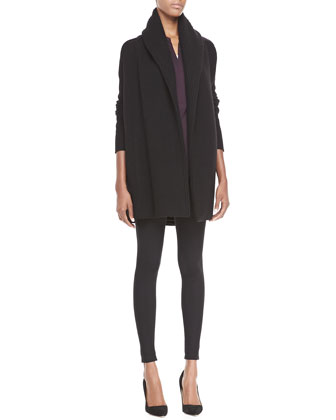 Rib-Trim Open Cardigan, Zip-Placket Silk Blouse & Scrunch-Ankle Ponte Leggings