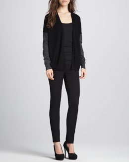 Vince Silk-Back Mix-Knit Colorblock Cardigan, Favorite Tank & Slim Performance Pants