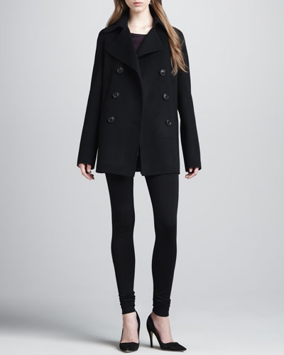 Felt Pea Coat, Loose Mix-Fabric Top & Scrunch-Ankle Ponte Leggings