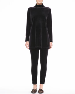 Joan Vass Velour Long-Sleeve Turtleneck Tunic & Cropped Leggings