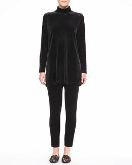 Joan Vass Velour Long-Sleeve Turtleneck Tunic & Cropped Leggings, Petite