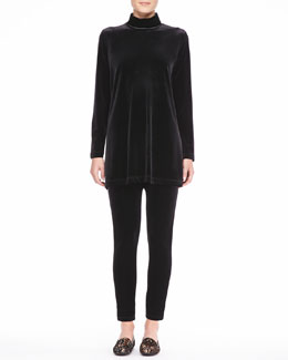 Joan Vass Velour Long-Sleeve Turtleneck Tunic & Cropped Leggings, Women's