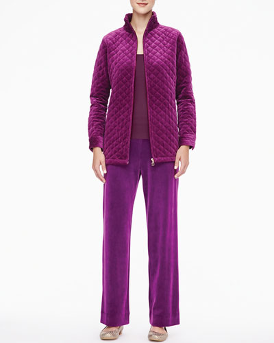 Joan Vass Classic Quilted Velour Jacket, Scoop-Neck Tank & Velour Pants