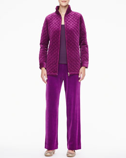 Joan Vass Classic Quilted Velour Jacket, Scoop-Neck Tank & Velour Pants, Petite