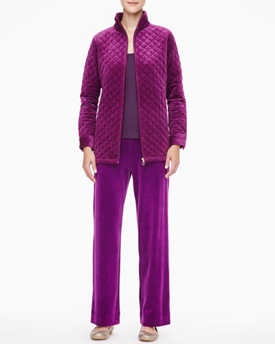 Joan Vass Classic Quilted Velour Jacket, Scoop-Neck Tank & Velour Pants, Women's