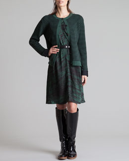 Marni Striped Neoprene-Cuff Cardigan & Round-Neck Printed Charmeuse Dress