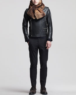 Maison Martin Margiela Leather Biker Jacket, Wrap-Collar Turtleneck Sweater, Twill Trouser Pants & Fur Scarf
