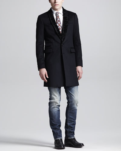 Dsquared2 Shawl-Collar Tokyo Coat, Dean & Dan Stretch Poplin Shirt, Slightly Distressed Slim Jeans & Print Silk Tie