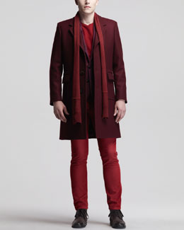 Maison Martin Margiela Single-Breasted Coat, Two-Button Cashmere Jacket, Jersey Tee, Slim Corduroy Jeans & Knit Scarf