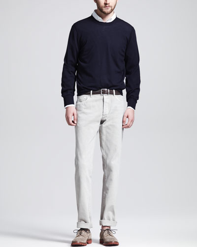 Brunello Cucinelli Fine-Gauge Knit Elbow-Patch Sweater, Button-Down Shirt & Basic Fit Jeans