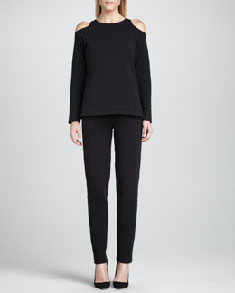 Joan Vass Open-Shoulder Top & Slim Capri Pants