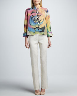Caroline Rose Big Flower Jacket, Shell & Linen Pants