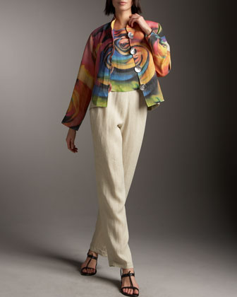 Big Flower Jacket, Shell & Linen Pants, Women's