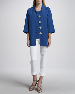 Caroline Rose Shantung Big-Button Shirt, Tank & Slim Capri Pants
