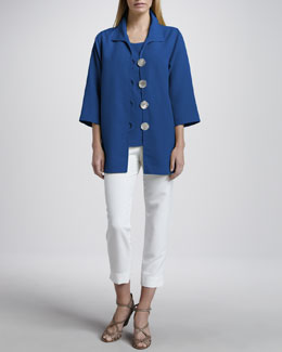 Caroline Rose Shantung Big-Button Shirt, Tank & Slim Capri Pants, Petite