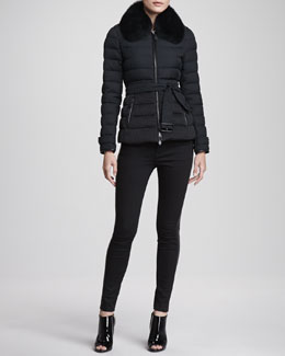 Burberry London Fox Collar Short Puffer Jacket & Lambskin-Side Skinny Jeans