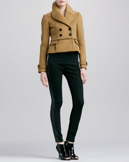 Burberry London Cashmere-Blend Short Peacoat & Lambskin Side Skinny Jeans