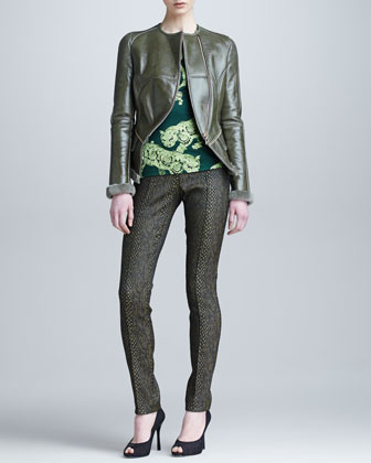 Leather Jacket, Short-Sleeve Tee & Fitted Pants