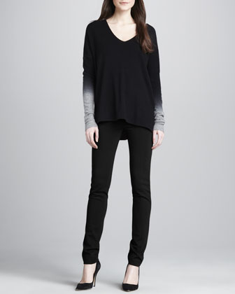 Dip-Dye Knit Sweater & Fitted Slim Twill Pants