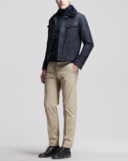 Maison Martin Margiela Denim Jacket with Shearling Collar, Dot Knit Turtleneck Sweater & Flat-Front Trousers