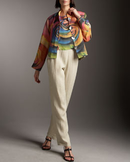 Caroline Rose Big Flower Jacket, Shell & Linen Pants, Petite