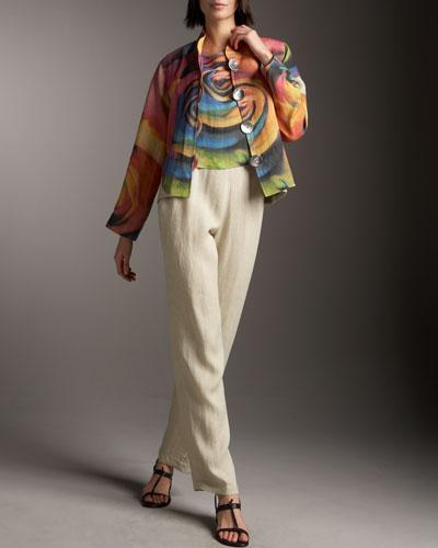 Caroline Rose Big Flower Jacket, Shell & Linen Pants, Petite