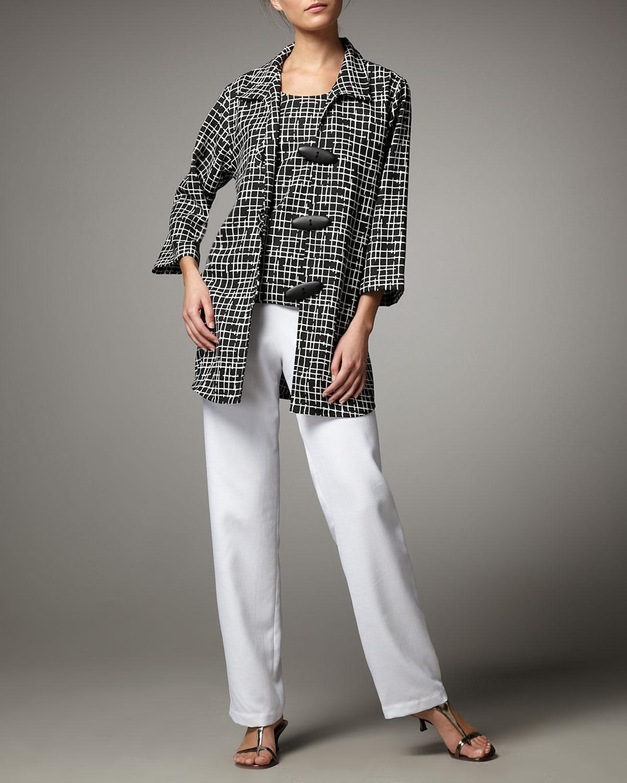 Travel Crosshatch Jacket & Straight-Leg Pants, Women's