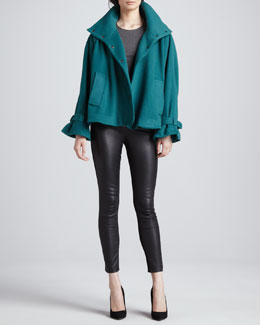 Catherine Malandrino Alexa Ruffle-Cuff Coat & Karen Leather Stretch Pants
