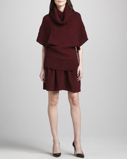 Catherine Malandrino Arlette Mixed-Texture Alpaca Sweater & Antigone Pleated Felt Skirt