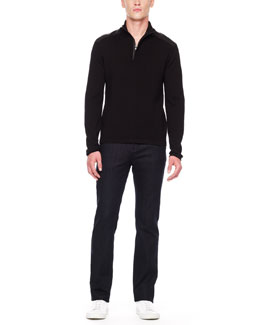 Michael Kors  Leather-Trim Sweater & Modern-Fit Jeans