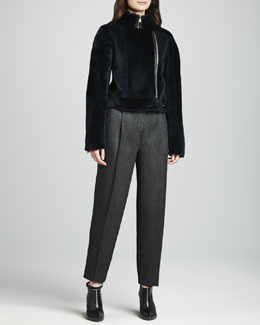 J Brand Ready to Wear Kay Fur Zip Jacket & Asawa Snake-Jacquard Pants
