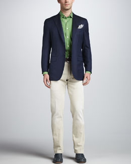 Kiton Herringbone Three-Button Blazer, Solid Washed Sport Shirt & Stone Washed Twill Pants