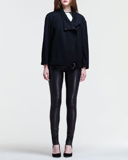 Helmut Lang Sonar Buckled-Hem Jacket, Cubist Split-Hem Top & Stretch Leather Skinny Pants