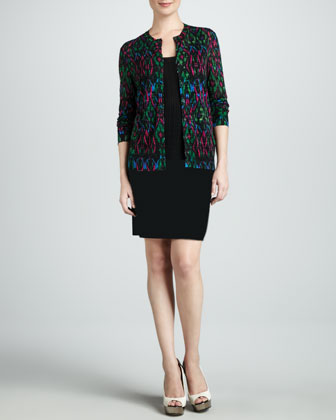 Ikat Knit Cardigan, Zigzag Tank & Double-Knit Space-Dye Skirt