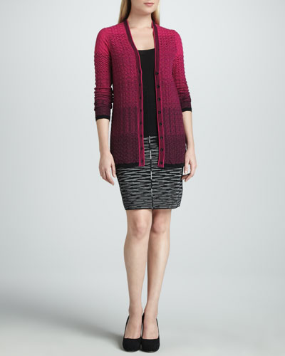 Gradient Zigzag Cardigan, Tank & Double-Knit Space-Dye Skirt