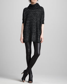 Alice + Olivia Crogan Marles Turtleneck & Leather Leggings
