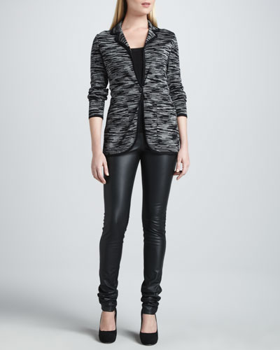 Double-Knit Space Dye Jacket, Zigzag Tank & Faux-Leather Leggings