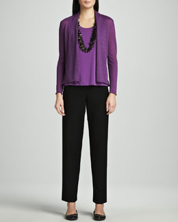 Eileen Fisher Washable Wool-Ribbed Cardigan, Silk Jersey Tank & Washable-Crepe Straight-Leg Pants, Petite