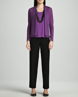 Eileen Fisher Washable Wool-Ribbed Cardigan, Silk Jersey Tank & Crepe Straight-Leg Pants, Women's