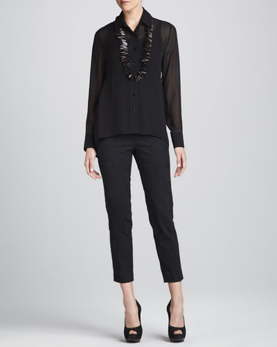 Eileen Fisher Sheer High-Low Georgette Shirt, Silk Jersey Camisole & Jacquard Cropped Trousers