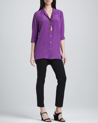 Crepe de Chine Long-Sleeve Shirt & Leather-Trim Ankle-Length Pants