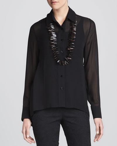 Eileen Fisher Sheer High-Low Georgette Shirt & Silk Jersey Camisole, Women's