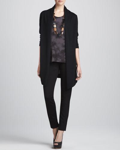 Eileen Fisher Long Silk-Back Cardigan, Silk Shibori Long Tank & Straight-Leg Ponte Pants
