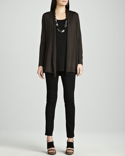 Eileen Fisher Long Merino Cardigan, Silk Jersey Tunic & Stretch Ponte Skinny Jeans, Petite