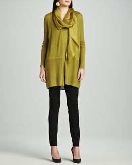 Eileen Fisher Washable Wool Cardigan, Silk Jersey Tunic Tank, Stretch Ponte Skinny Jeans & Whisper Silk Scarf