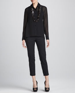 Eileen Fisher Sheer High-Low Georgette Shirt, Silk Jersey Camisole & Jacquard Cropped Trousers, Petite