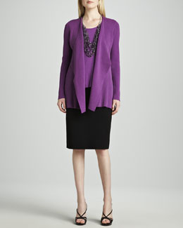 Eileen Fisher Silk-Cotton Interlock Sweater Jacket, Jersey Tank & Straight Skirt, Petite